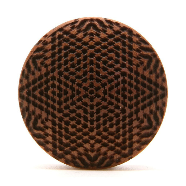 Star Maze Saba Wood Plug - Custom Flesh Plugs & Gauges, Alternative, Tattoo - Engraved Woods - 1