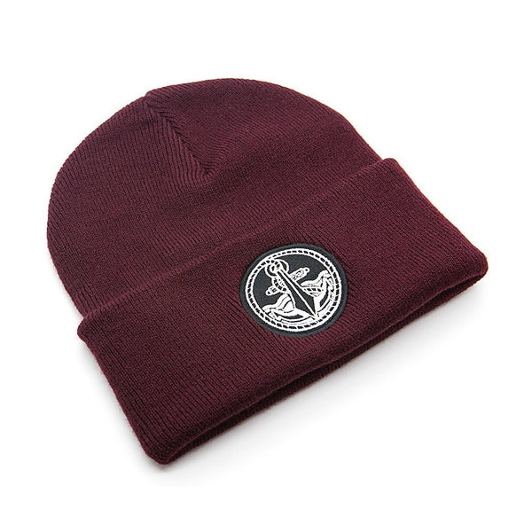 Burgundy Anchor Beanie - Custom Flesh Plugs & Gauges, Alternative, Tattoo - Beanies - 1