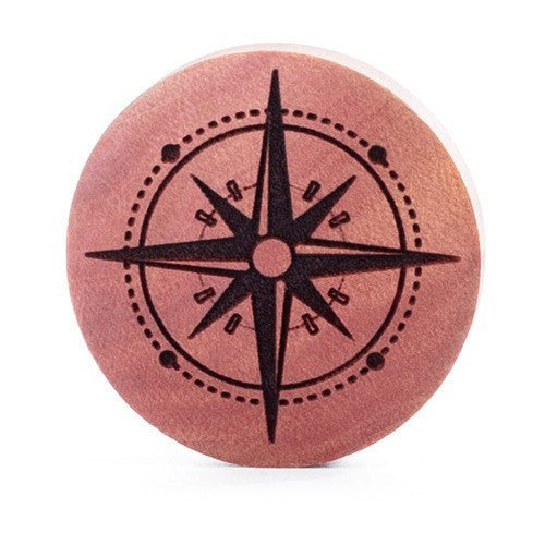 Compass Saba Wood Plug - Custom Flesh Plugs & Gauges, Alternative, Tattoo - Engraved Woods - 1