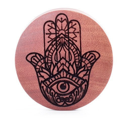 Hamsa Saba Wood Plug - Custom Flesh Plugs & Gauges, Alternative, Tattoo - Engraved Woods - 1