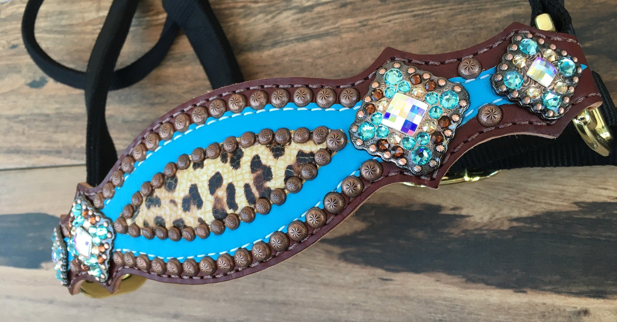 Turquoise and Cheetah Halter