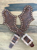 Brown Tooled Spur Straps