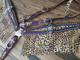 Metallic Purple and Cheetah with Fringe