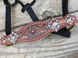 Tooled Aztec Leather Halter with Crystals