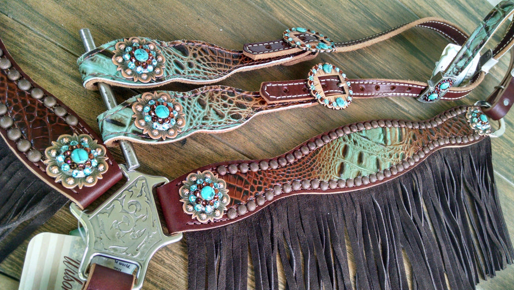 Turquoise/ Brown Fade Embossed Gator