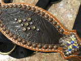 Brown Tooled Halter with Crystals