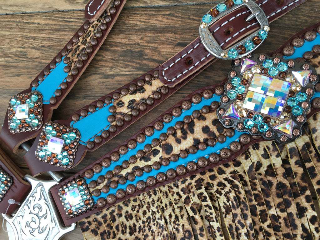Turquoise with Cheetah Overlay & Cheetah Fringe