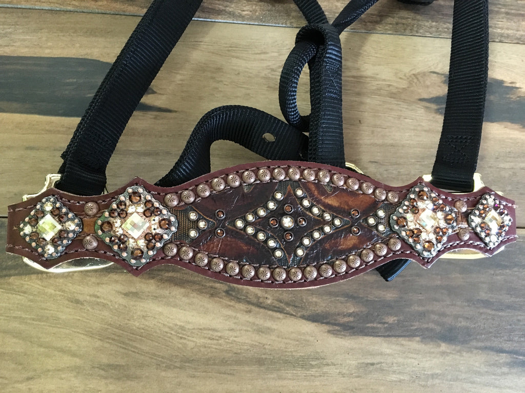 Brown Aztec Tooled Halter with Crystals