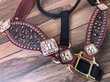 Brown tooled halter with rim set crystals