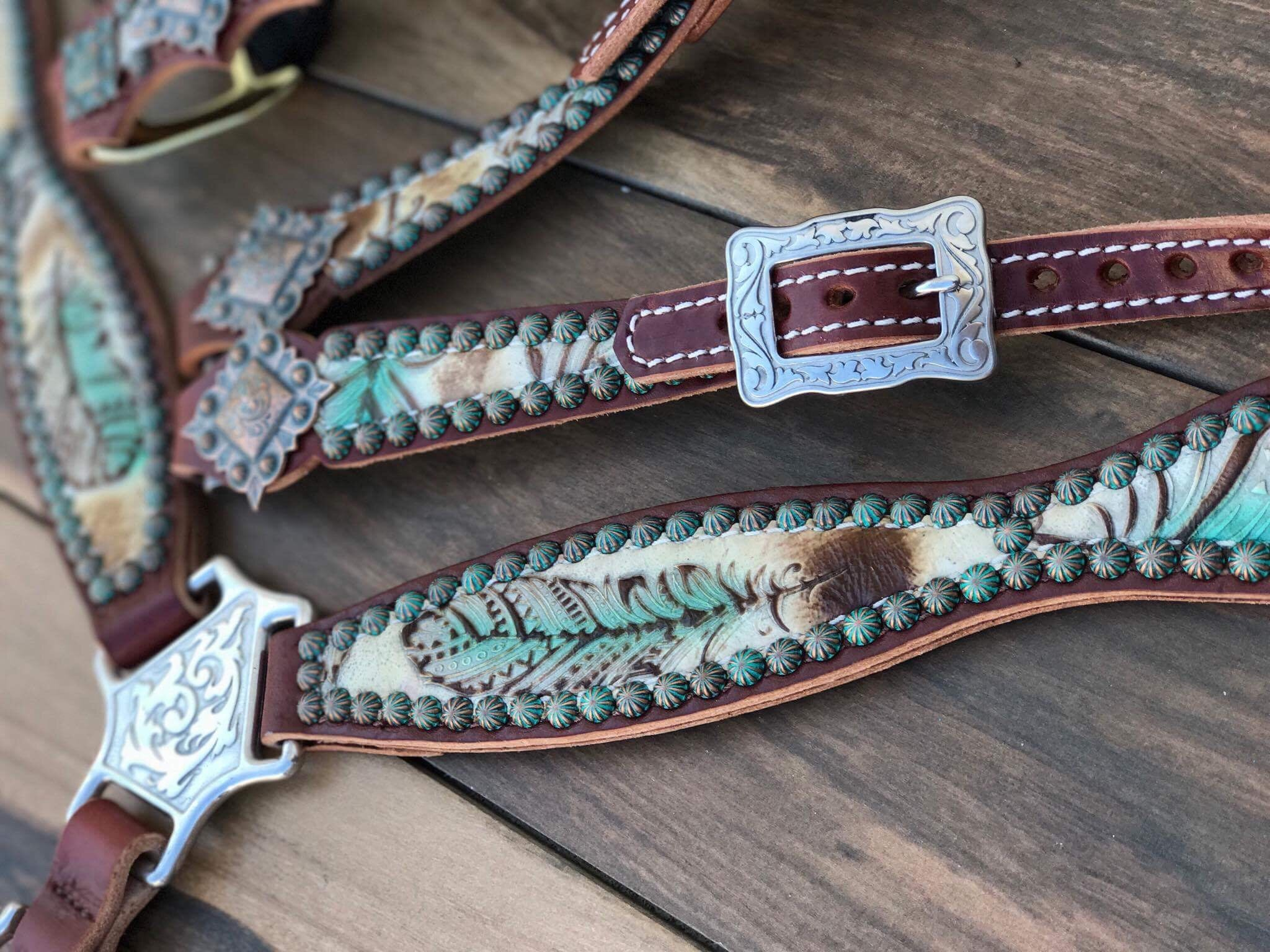 Turquoise Feather W/ Patina Spots