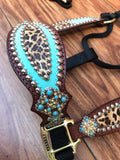 Tiffany blue with cheetah overlay halter