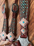 Rustic Brown Gator with Southwest Conchos