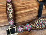 Cheetah with pink and turquoise halter