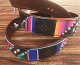 Serape leather with repurposed Louis Vuitton overlay