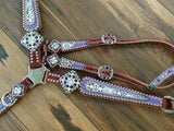 Purple and Fleur Di Lis Leather Breast collar