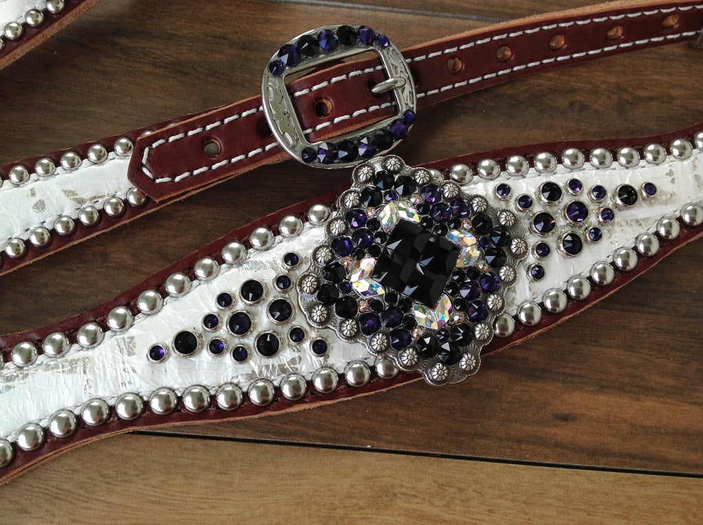 White & Silver Gator with Purple Velvet & Jet Black Crystals