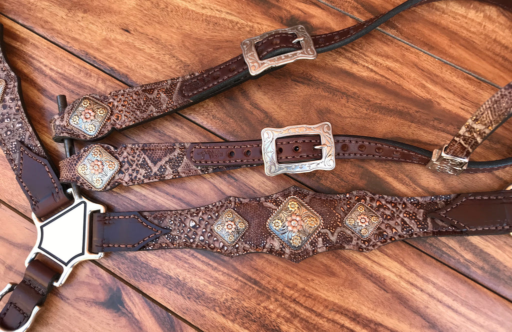 Brown Python with Floral conchos