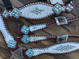 White gator with turquoise