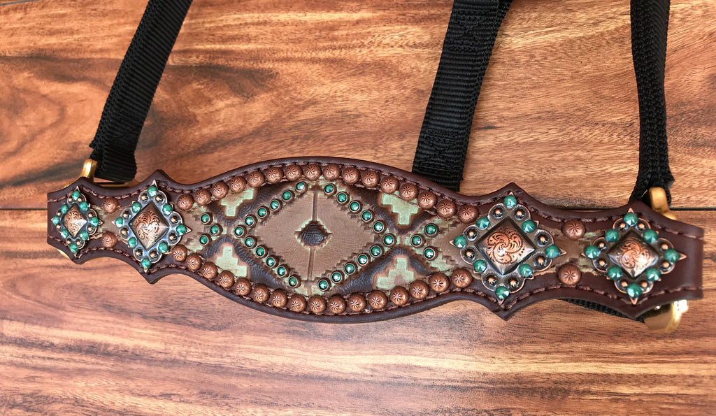 Green Aztec Halter with Copper Accents