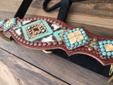 Turquoise/ Brown Aztec W/ Rocks