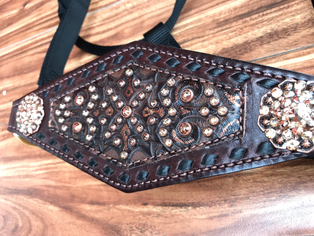 Brown and copper tooled halter