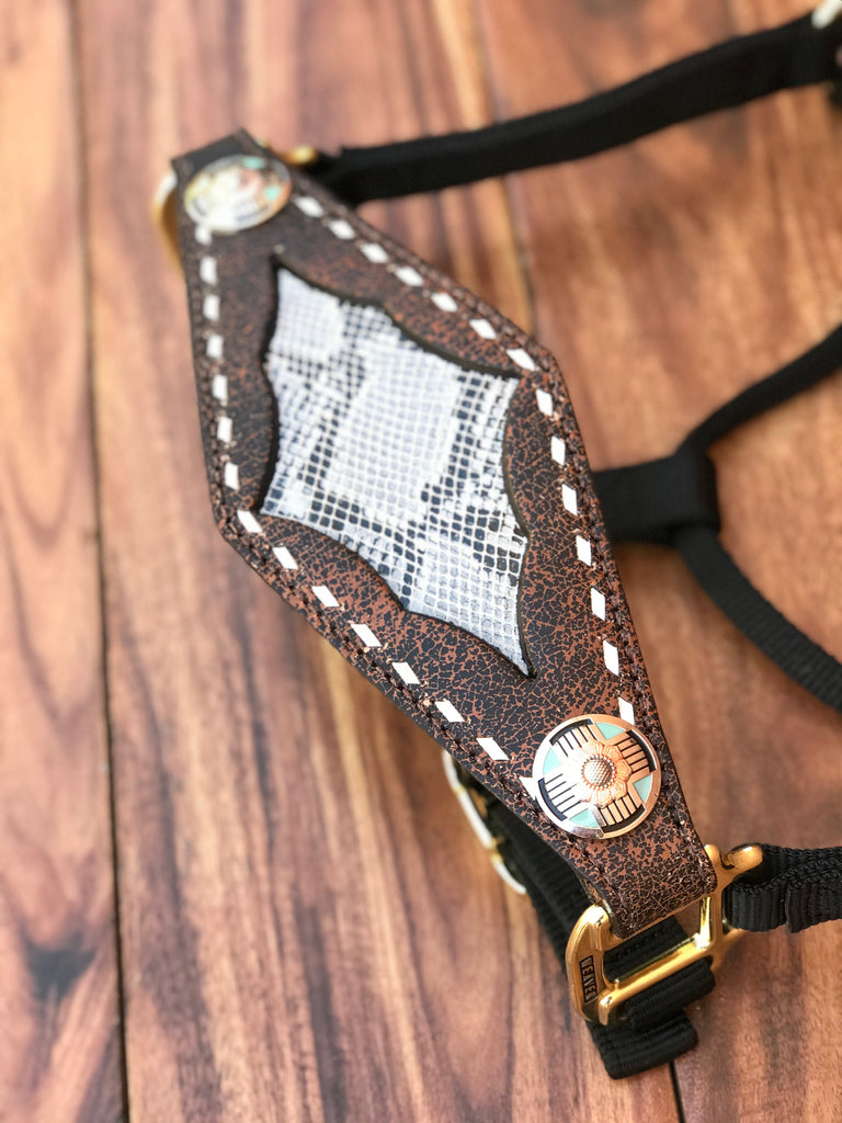 White Snake Inlay Halter With White Buckstitch