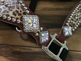 Cheetah Halter with checks and crystal rim sets