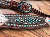 Rustic Brown Gator with Southwest conchos and Patina and Copper spots (pointy)