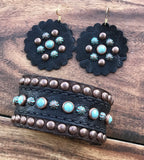 Black elephant arm band and earrings