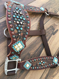 Rustic Brown Gator with Patina and Turquoise accents
