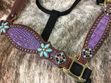 Purple gator halter with turquoise floral conchos.