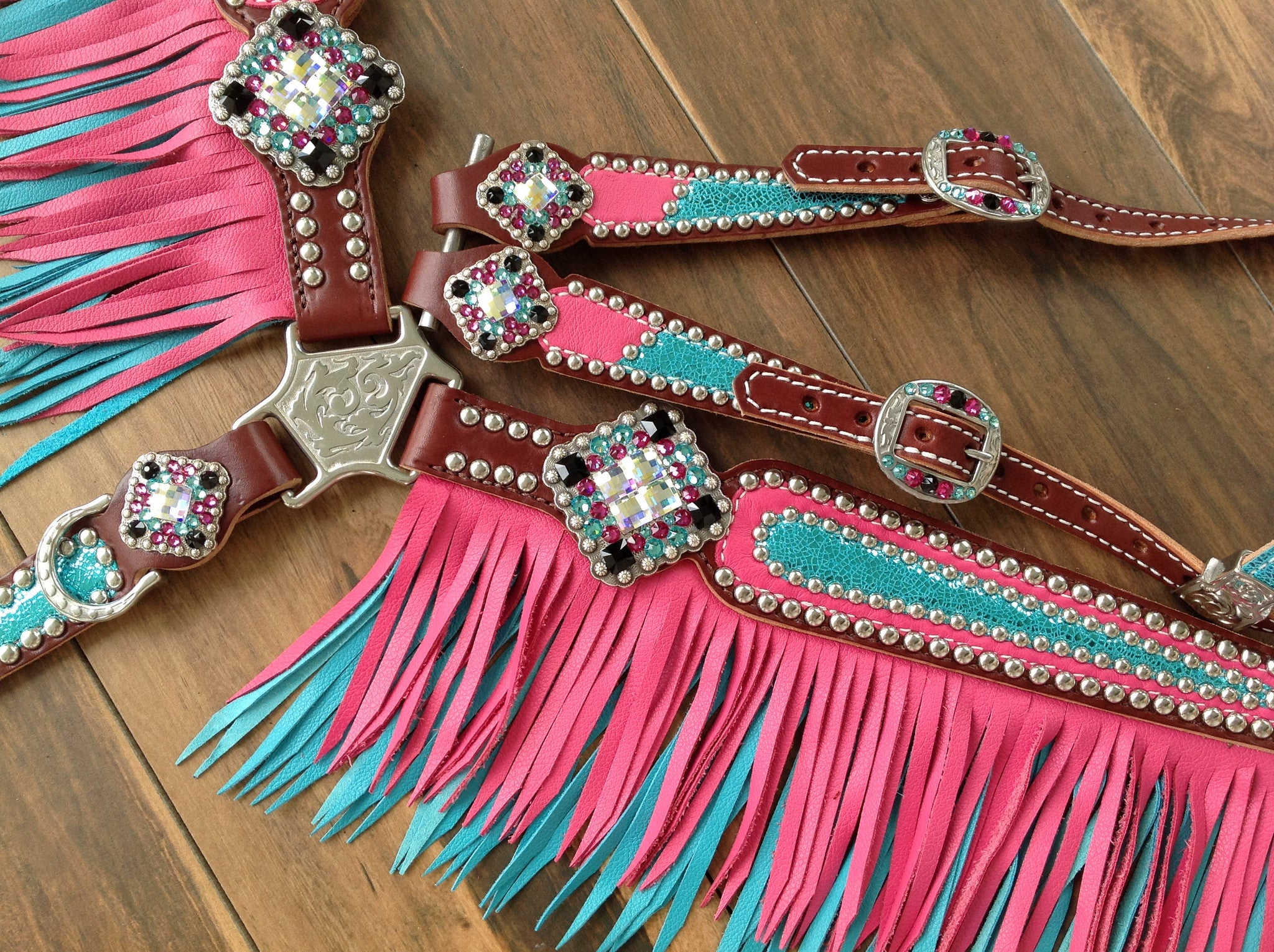 Pink with Metallic Turquoise with Turquoise & Pink Fringe