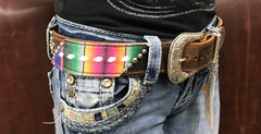 Serape belt with white buckstitch and crystals