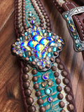 Cream Gator with Turquoise overlay and copper spots