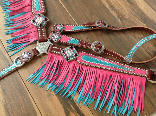 Pink With Metallic Turquoise With Turquoise Amp Pink Fringe