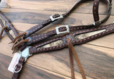 Cowhide Inlay with Kangaroo Lace Buck-stitch Solid Conchos