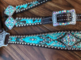 Turquoise Tooled on Dark Oil Leather