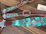 Turquoise Tooled W/ AB Crystals