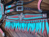 Tiffany Blue and Peach with woven fringe