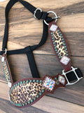Cheetah Halter W/ Patina Spots and AB Conchos