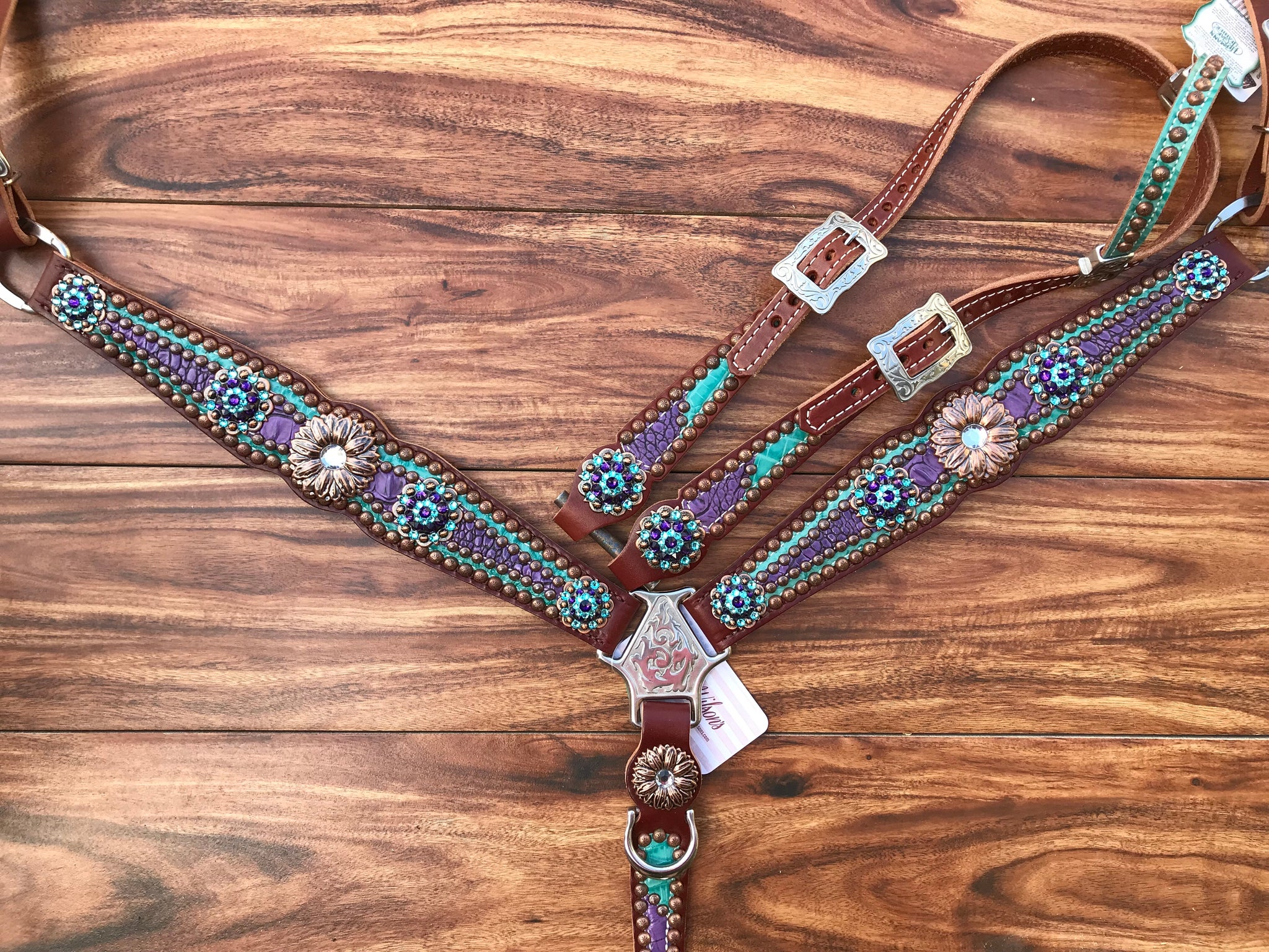 Teal And Purple Gator Overlay With Copper Daisy Conchos Rockn Wilsons