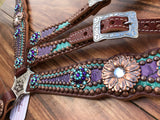 Teal and Purple Gator Overlay with Copper Daisy Conchos
