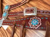 Turquoise buckstitch and round conchos