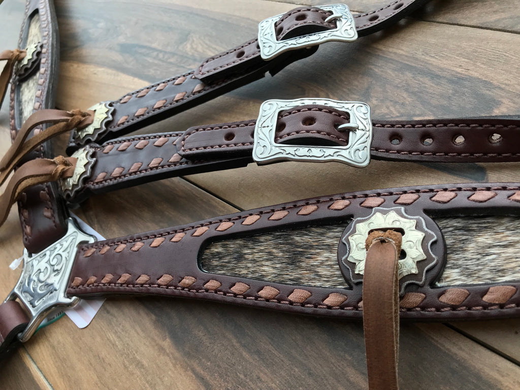 Kangaroo Lace Buckstitch with Cowhide inlay two tone conchos