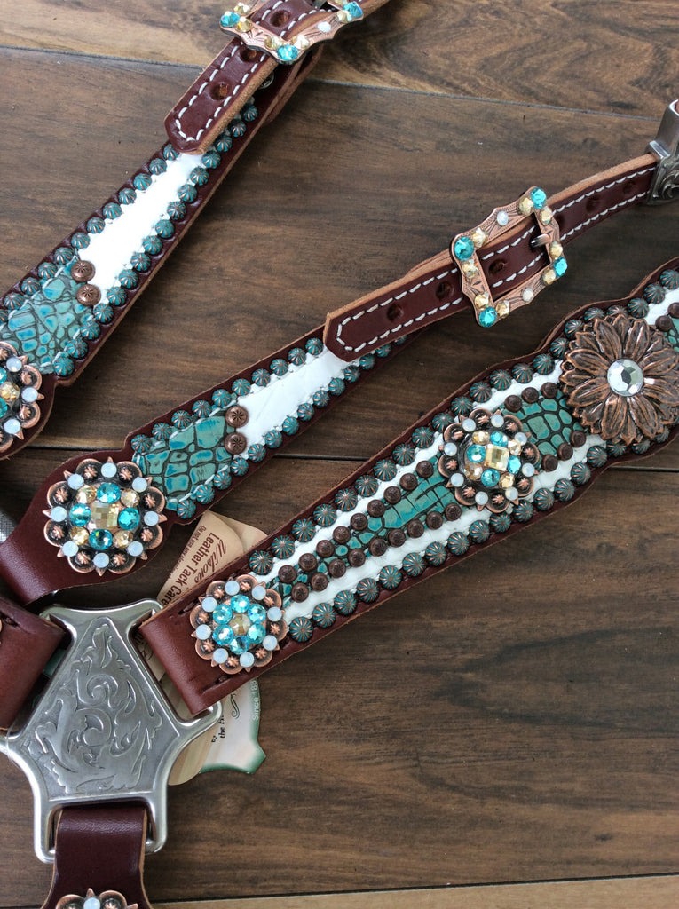 Turquoise and Cream Gator Leather