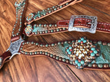 Turquoise and brown fade embossed gator