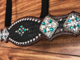 Black gator with blue zircon