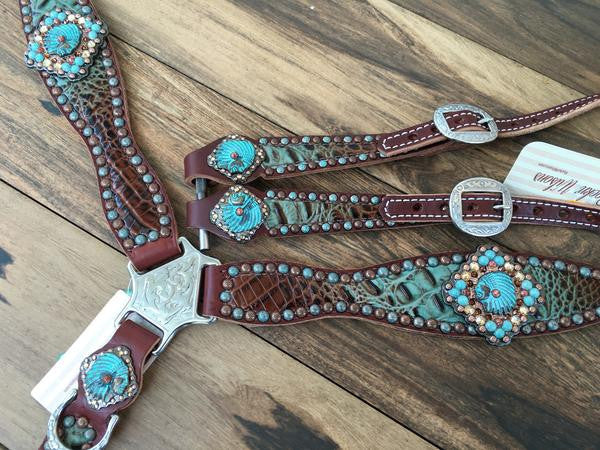 Turquoise and Brown Fade Gator with Indian Heads