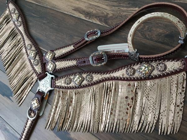 Rose Gold Mystic Python Breast Collar With Fringe