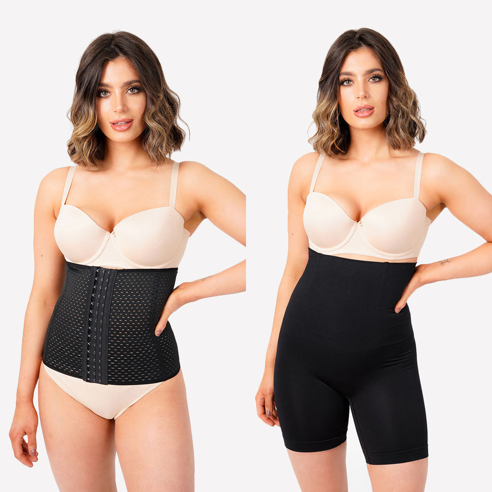 Pack Of 2 - Everyday Waist Trainer and Long Shaping Control Pants - Black